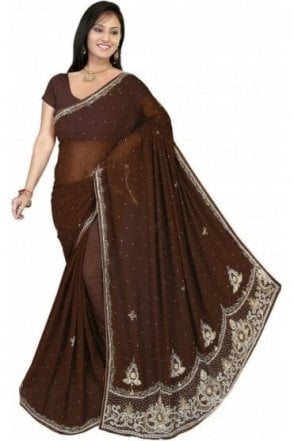 DES19081 Gorgeous Brown & Gold Party Saree