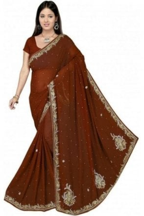 DES19087 Stunning Brown & Gold Party Saree