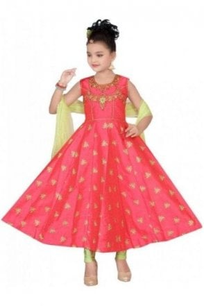 GCS19168 Pink and Green Girl's Churidar Suit