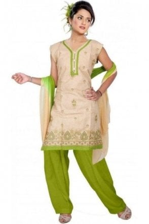 WCS19123 Dark Beige and Green Churidar Suit
