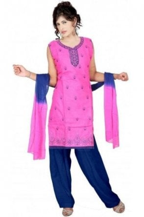 WCS19143 Pink and Navy Blue Churidar Suit