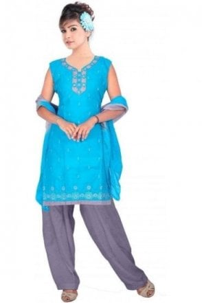 WCS19163 Light Blue and Grey Churidar Suit