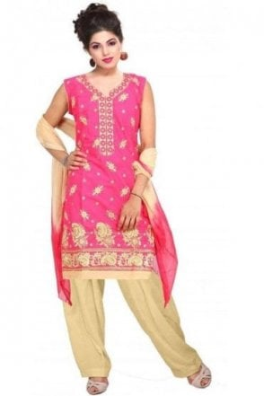 WCS19203 Pink and Gold Churidar Suit