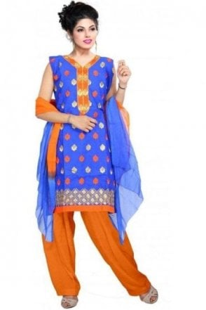 WCS19214 Royal Blue and Orange Churidar Suit
