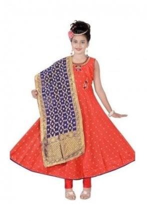 KCS19080 Salmon Pink and Navy Blue Girl's Churidar Suit