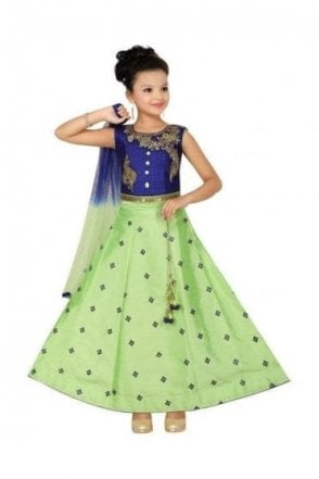 GLC19035 Blue and Parrot Green Girl's Lengha Choli