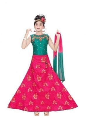 GLC19045 Jade Green and Pink Girl's Lengha Choli