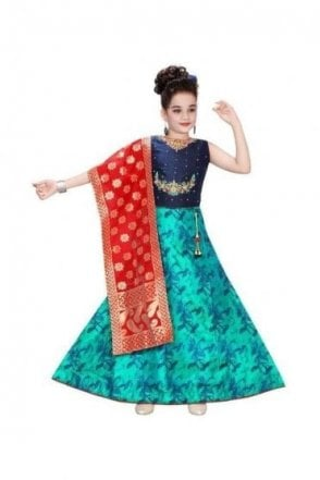 GLC19053 Navy Blue and Jade Green Girl's Lengha Choli