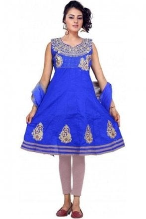 GCS19253 Royal Blue and Grey Girl's Churidar Suit