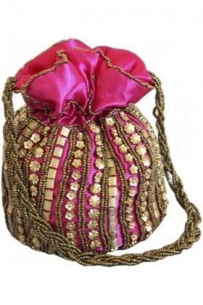 Pot_Pin Hot pink and Gold Indian Potli / Batwa Bag