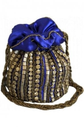 Pot_Blu Royal Blue and Gold Indian Potli / Batwa Bag
