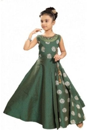 GCS19523 Green and Gold Girl's Churidar Suit