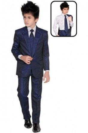 BCS19011 Navy Blue and White 4 Piece Boy's Indo Western Coat Suit