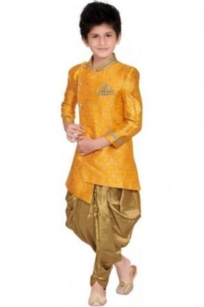 BCS19013 Mustard Yellow and Champagne Gold 2 Piece Boy's Indo Western Sherwani Suit