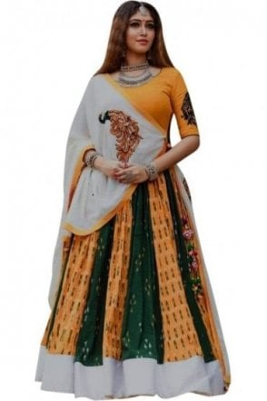 WCC19012 Beautiful  Mustard and Green Designer Navratri Special Chaniya Choli Lengha