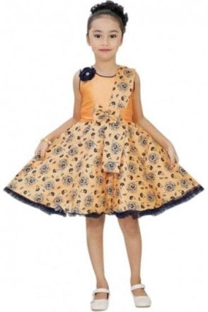 GPF19046 Peach and Blue Girl's Party Frock