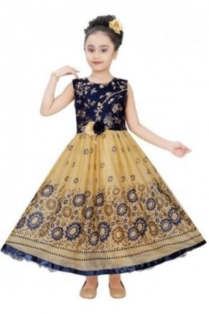 GPF19056 Blue and Gold Girl's Party Frock