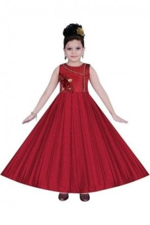 GPF19057 Maroon and Gold Girl's Party Frock