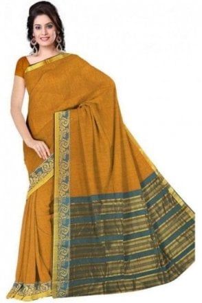 PCS19201  Yellow  and Jade Green Poly Cotton Saree - With Unstitched Blouse Piece