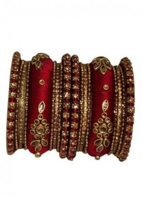 BAK1064-04 Maroon and Golden Set of 18 Thread and Stone Girl's Bangles