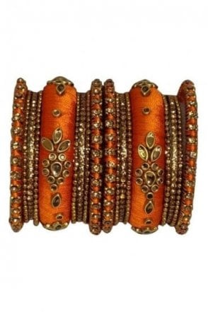 BAK1064-05 Orange  and Golden Set of 18 Thread and Stone Girl's Bangles
