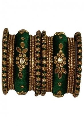 BAK1064-07 Emerald Green and Golden Set of 18 Thread and Stone Girl's Bangles