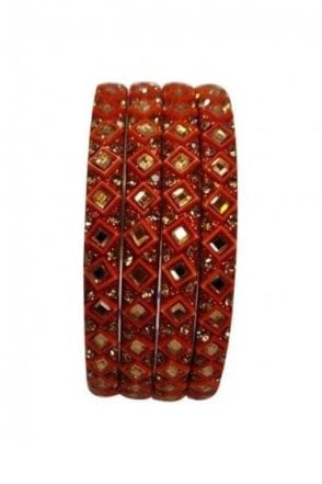 BAN20-07 Red and Gold Abla MirrorÿStone Womens Bangles