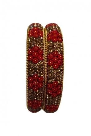 BAN50-01 Maroon and Antique Gold Floral and Bead Womens Bangles