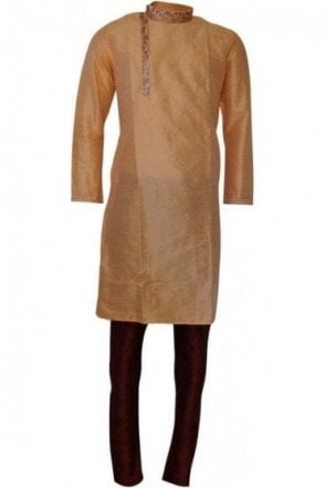 MPK19206 Peach and Maroon Men's Kurta Pyjama