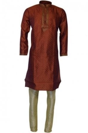 MPK19207 Red and Cream Men's Kurta Pyjama