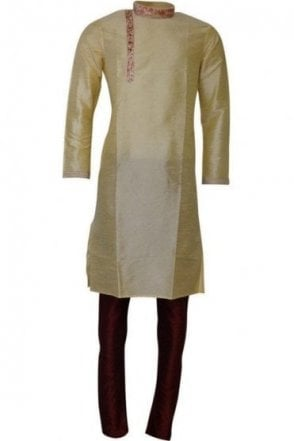 MPK19214 Cream and Red Men's Kurta Pyjama