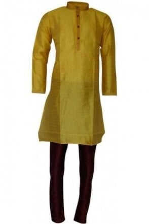 MPK19215 Yellow and Red Men's Kurta Pyjama