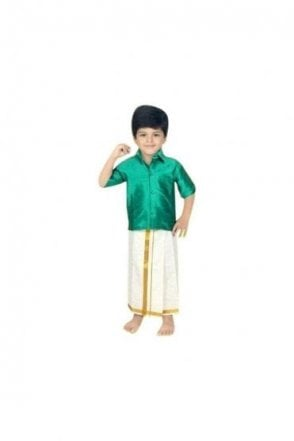 BVS2001 Rama Green and Cream Boys Veshti Sattai