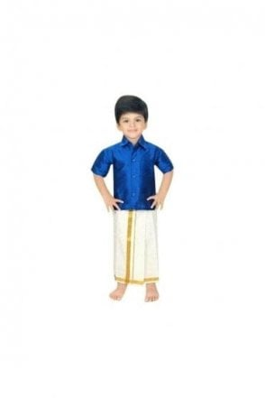 BVS2002 Royal Blue and Cream Boys Veshti Sattai