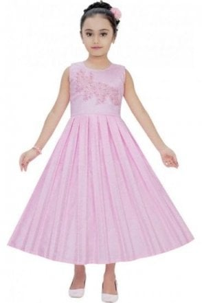 GPF19061 Baby Pink and Pearl Pink Girl's Party Frock