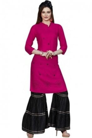 WPS19001 Pink and Black Beautiful  Designer Palazzo Suit