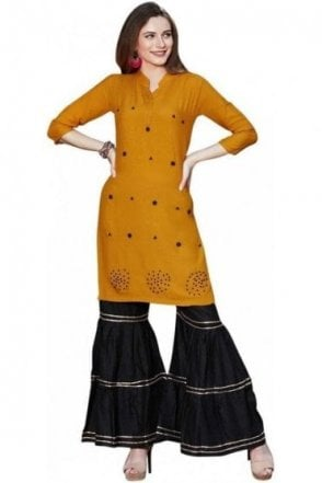 WPS19002 Yellow and Black Gorgeous  Designer Palazzo Suit