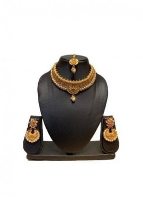 NLS19008 Antique Gold and Pearl Necklace Set with Tikka