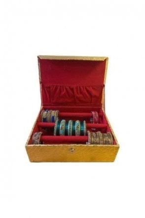 BAB19004 Gold and Paisley Design Indian Ethnic 3 Rolls (3-Bars) Bangle Jewellery Box