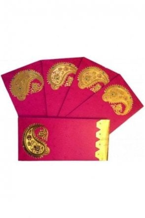 E101_RED Pack of 5 Red and Gold Shagun Envelope Money Wallet