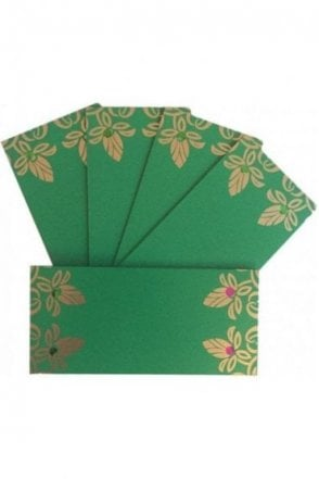E103_GRE Pack of 5 Green and Gold Shagun Envelope Money Wallet