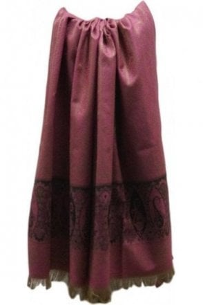 WSL19009 Pink and Black Ethnic Indian Shawl Stole Scarf with Exquisite Paisley Embroidery