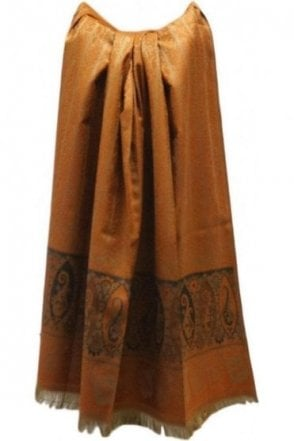 WSL19010 Rust Orange and Black Ethnic Indian Shawl Stole Scarf with Gorgeous Paisley Embroidery