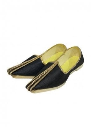 MJD19001 Black and Gold Raw Silk Men's Mojari Mojadi Jutti Shoes