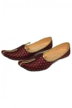 MJD19007 Maroon and Gold Brocade Men's Mojari Mojadi Jutti Shoes