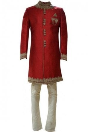 MTS19009 Maroon Red and Gold Men's Sherwani Suit with Gold Dupatta Scarf