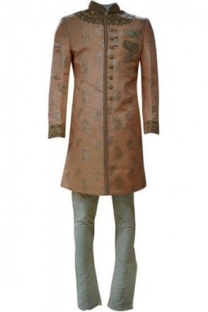 MTS19008 Peach and Gold Men's Sherwani Suit with Gold Dupatta Scarf
