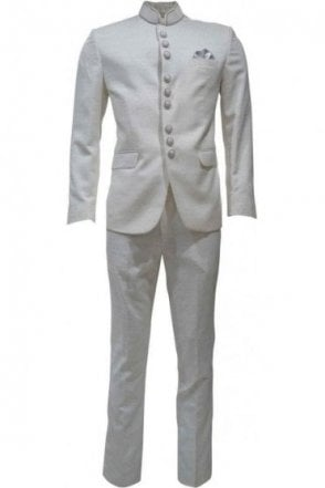 MJS19004 Ivory and Silver Men's Jodhpuri Suit