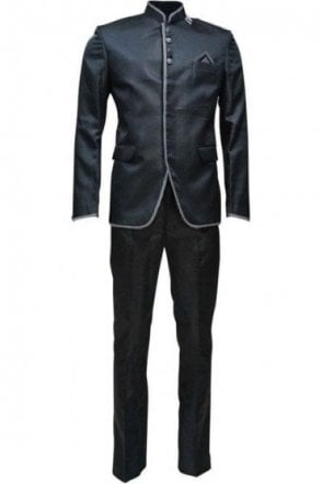 MJS19005 Black and Grey Men's Jodhpuri Suit