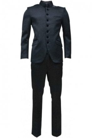 MJS19007 Black and Silver Men's Jodhpuri Suit
